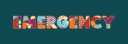 The word EMERGENCY concept written in colorful abstract typography. Vector EPS 10 available.
