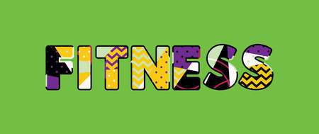 The word FITNESS concept written in colorful abstract typography. Vector EPS 10 available. 일러스트