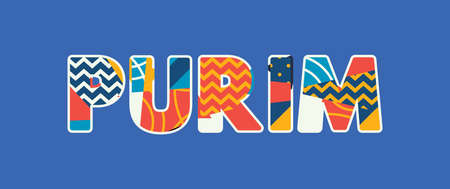The word PURIM concept written in colorful abstract typography. Vector EPS 10 available. Vectores
