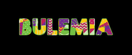 The word BULEMIA concept written in colorful abstract typography. Vector EPS 10 available.