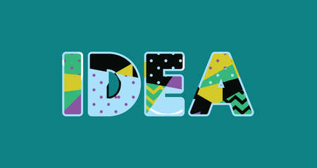 The word IDEA concept written in colorful abstract typography. Vector EPS 10 available. Foto de archivo - 103631514