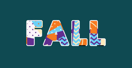 The word FALL concept written in colorful abstract typography. Vector EPS 10 available. Illusztráció