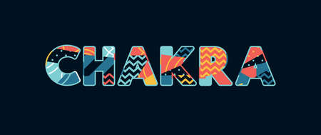 The word CHAKRA concept written in colorful abstract typography. Vector EPS 10 available.