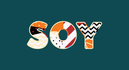 The word SOY concept written in colorful abstract typography. Vector EPS 10 available.