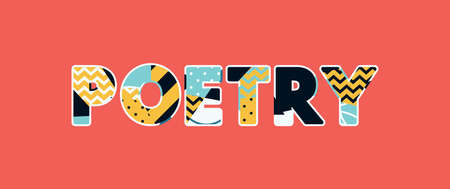 The word POETRY concept written in colorful abstract typography. Vector EPS 10 available.