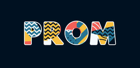 The word PROM concept written in colorful abstract typography. Vector EPS 10 available.  イラスト・ベクター素材