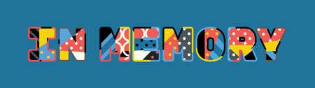 De woorden IN MEMORY-concept geschreven in kleurrijke abstracte typografie. Vector EPS 10 beschikbaar.