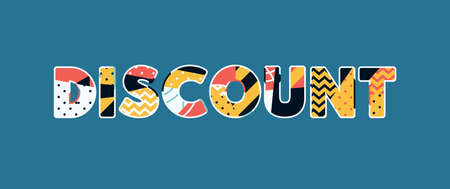 The word DISCOUNT concept written in colorful abstract typography. Vector EPS 10 available.  イラスト・ベクター素材