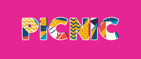 The word PICNIC concept written in colorful abstract typography. Vector EPS 10 available. Çizim