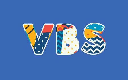 The word VBS concept written in colorful abstract typography. Vector EPS 10 available.