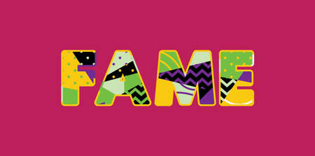 The word FAME concept written in colorful abstract typography. Vector EPS 10 available. 向量圖像