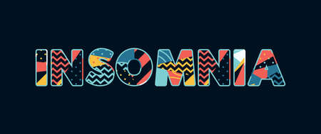 The word INSOMNIA concept written in colorful abstract typography. Vector EPS 10 available. 向量圖像