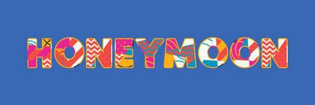 The word HONEYMOON concept written in colorful abstract typography. Vector EPS 10 available. Çizim
