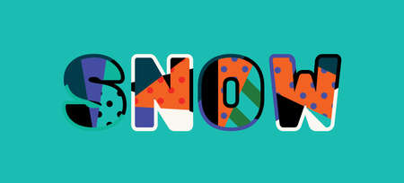 The word SNOW concept written in colorful abstract typography. Vector EPS 10 available.