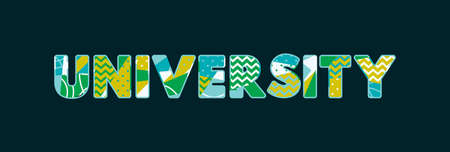 The word UNIVERSITY concept written in colorful abstract typography. Vector EPS 10 available.