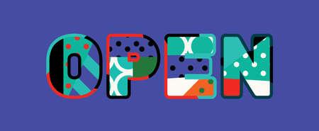 Słowo OPEN koncepcja napisane w kolorowej abstrakcyjnej typografii. Wektor EPS 10 dostępny. Ilustracje wektorowe