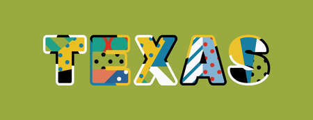 The word TEXAS concept written in colorful abstract typography. Vector EPS 10 available.