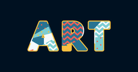 The word ART concept written in colorful abstract typography. Vector EPS 10 available.
