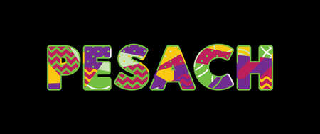 The word PESACH concept written in colorful abstract typography. Vector EPS 10 available.