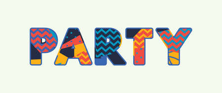 The word PARTY concept written in colorful abstract typography. Vector EPS 10 available.
