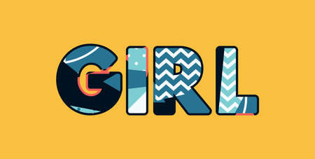The word GIRL concept written in colorful abstract typography. Vector EPS 10 available.