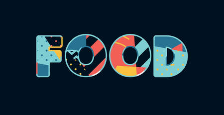 The word FOOD concept written in colorful abstract typography. Vector EPS 10 available. Illustration
