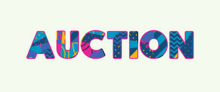 The word AUCTION concept written in colorful abstract typography. Vector EPS 10 available.
