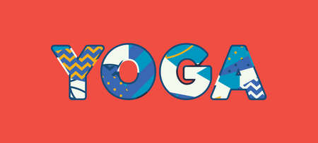 The word YOGA concept written in colorful abstract typography. Vector EPS 10 available.