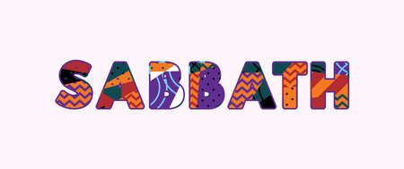 The word SABBATH concept written in colorful abstract typography. Vector EPS 10 available.