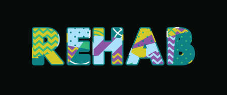 The word REHAB concept written in colorful abstract typography. Vector EPS 10 available.