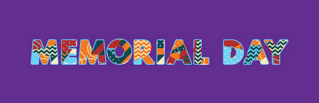 The words MEMORIAL DAY concept written in colorful abstract typography. Vector EPS 10 available.