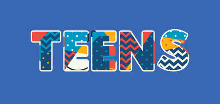 The word TEENS concept written in colorful abstract typography. Vector EPS 10 available. Stock Illustratie