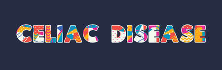 The words CELIAC DISEASE concept written in colorful abstract typography. Vector EPS 10 available.