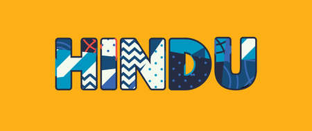 The word HINDU concept written in colorful abstract typography. Vector EPS 10 available.
