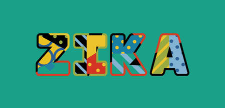The word ZIKA concept written in colorful abstract typography. Vector EPS 10 available. Ilustrace