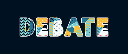 The word DEBATE concept written in colorful abstract typography. Vector EPS 10 available.