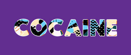 The word COCAINE concept written in colorful abstract typography. Vector EPS 10 available. Illustration