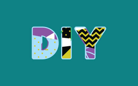 The word DIY concept written in colorful abstract typography. Vector EPS 10 available. Stock Illustratie