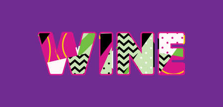 The word WINE concept written in colorful abstract typography. Vector EPS 10 available.
