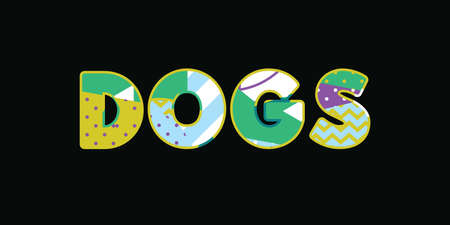 The word DOGS concept written in colorful abstract typography. Vector EPS 10 available.