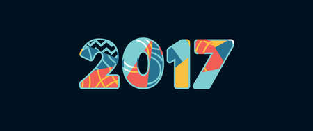 The year 2017 concept written in colorful abstract typography. Vector EPS 10 available. Ilustração