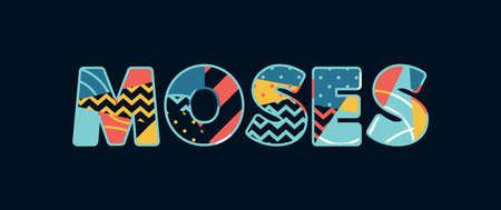La parola Mosè concetto scritto in una colorata tipografia astratta. Vector EPS 10 disponibile.