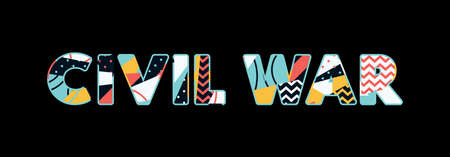 The word CIVIL WAR concept written in colorful abstract typography. Vector EPS 10 available.