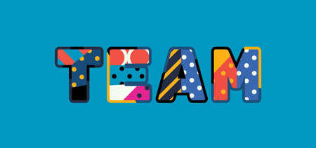 The word TEAM concept written in colorful abstract typography. Vector EPS 10 available.