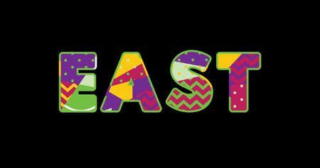 The word EAST concept written in colorful abstract typography. Vector EPS 10 available.