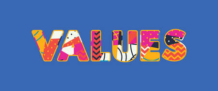 The word VALUES concept written in colorful abstract typography. Vector EPS 10 available.