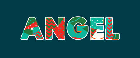 The word ANGEL concept written in colorful abstract typography. Vector EPS 10 available.