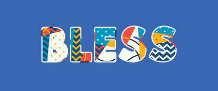 The word BLESS concept written in colorful abstract typography. Vector EPS 10 available. 向量圖像