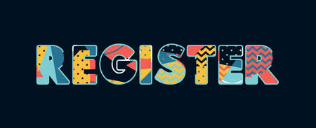 The word REGISTER concept written in colorful abstract typography. Vector EPS 10 available. Vectores