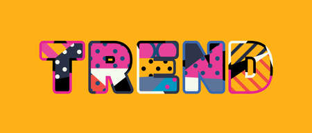 The word TREND concept written in colorful abstract typography. Vector EPS 10 available. Çizim